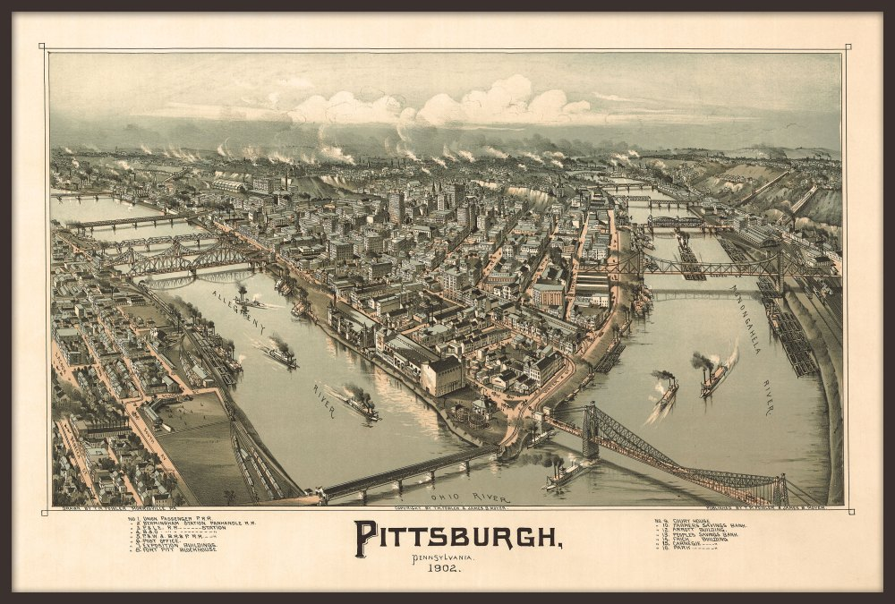 Framed 1902 Pittsburgh panorama map reprint